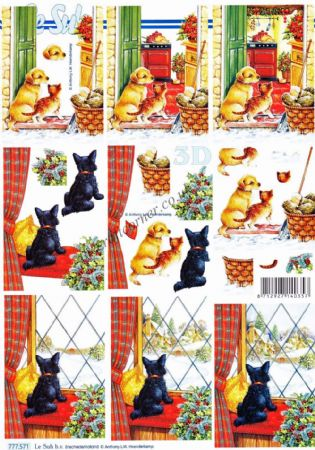 Cat & Dog By A Winter Window 3d Decoupage Sheet